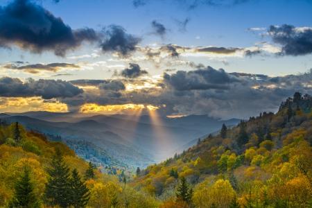ravine: Autumn sunrise in the Smoky Mountains National Park. Stock Photo