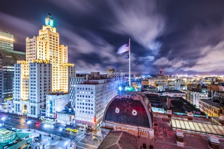 island: Providence, Rhode Island downtown cityscape viewed from behind city hall. Stock Photo