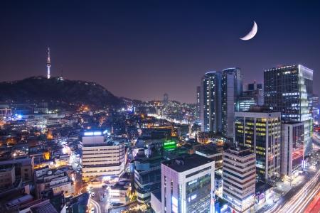 south korea: Seoul, South Korea with Namsan Mountain.