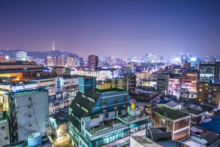 south korea: Seoul, South Korea with Seoul Tower in the distance