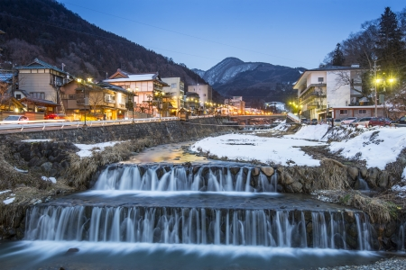hot springs: Springs in the small Town of Shubu, Nagano, Japan. The town is famed for its hot springs.