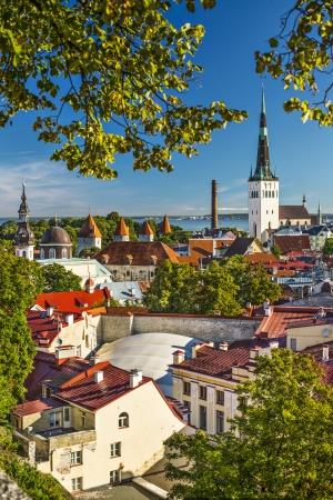 estonia: Skyline of Tallinn, Estonia at the old city. Stock Photo