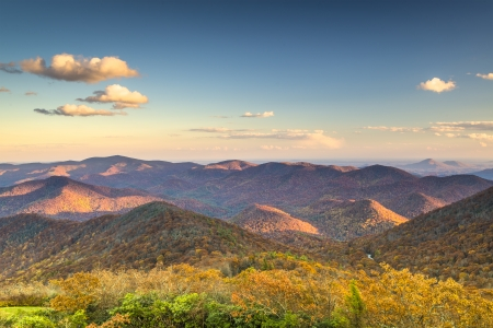 newfound gap: Blue Ridge Mountains at dusk in north Georgia, USA. Stock Photo