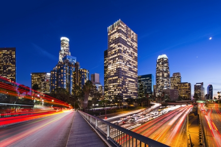Downtown Los Angeles, California, USA skyline. Banco de Imagens