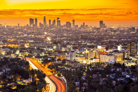 hollywood hills: Downtown Los Angeles, California, USA skyline at dawn.