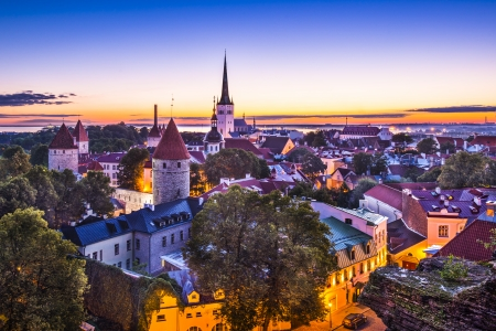 estonia: Dawn in Tallinn, Estonia at the old city.