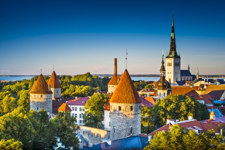 Dawn in Tallinn, Estonia at the old city from Toompea Hill. photo