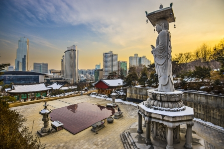 bongeunsa: Seoul, South Korea skyline from Bongeunsa Temple. Stock Photo
