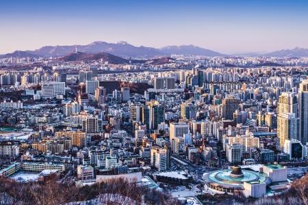 Seoul, South Korea afternoon skyline.
