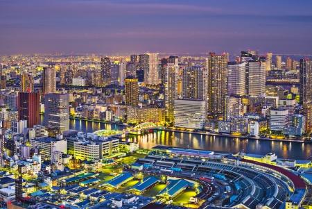 city fish market: View of Tokyo, Japan over Tsukiji Fish Market.