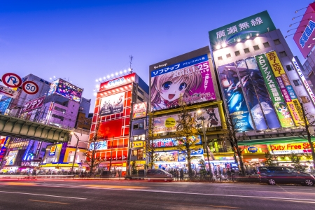 TOKIO - 02 de enero: el distrito de Akihabara 02 de enero 2013 en Tokio, JP. El distrito es una importante zona comercial de electr�nica, inform�tica, anime, juegos y otaku mercanc�as. Editorial