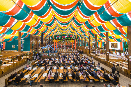 MUNICH - SEPTEMBER 30: The Hippodrom Beer Tent on the Theresienwiese Oktoberfest fair grounds September 30, 2013 in Munich, Germany. The Hippodrom was first opened in 1902.