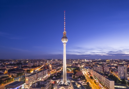 Cityscape of Berlin, Germany at Alexanderplatz. photo