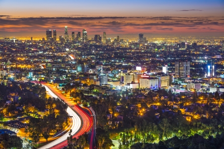 Los Angeles, California in the monring from Mulholland Drive. photo