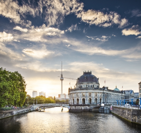 Berlin, Germany view of Museum Island and Television Tower just after sunrise. photo