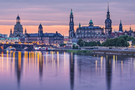 dresden: Dresden, Germany above the Elbe River at dawn. Stock Photo