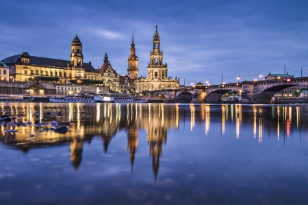 dresden: Dresden, Germany above the Elbe River.