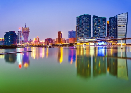 Macau, China skyline at the high rise casino resorts. Stock Photo