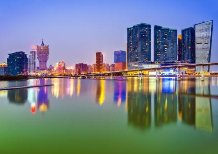 macau: Macau, China skyline at the high rise casino resorts. Stock Photo