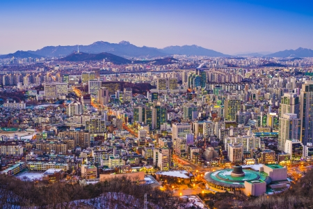 Seoul, South Korea evening skyline. photo
