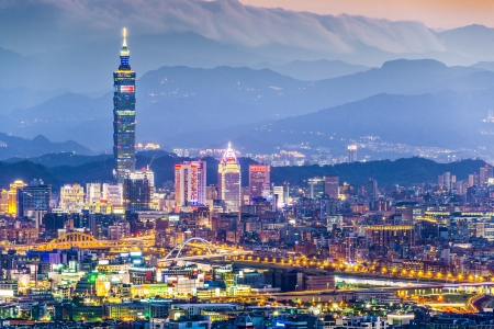 taipei: Modern office buildings in Taipei, Taiwan at dusk. Stock Photo