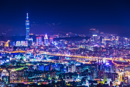office buildings: Modern office buildings in Taipei, Taiwan at night Stock Photo