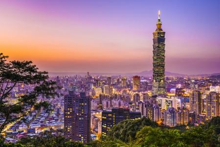 skylines: Modern office buildings in Taipei, Taiwan at dusk. Stock Photo