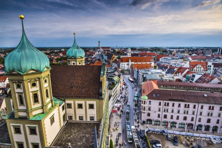 Augsburg, Germany city center aerial view.