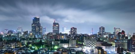 tokyo prefecture: Sendai, Japan cityscape at night