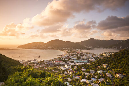 dutch: Philipsburg, Sint Maarten, Dutch Antilles cityscape at the Great Salt Pond.