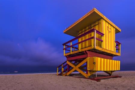 lifeguard tower: South Beach, Miami, Florida, USA lifeguard post at twilight.