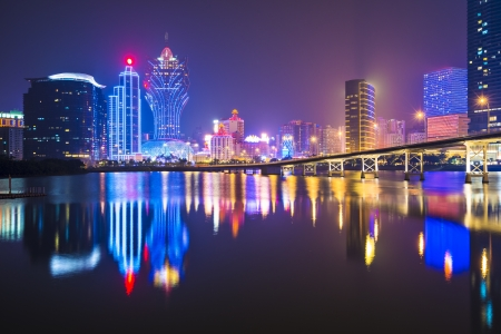 hotel casino: Macau, China skyline at the high rise casino resorts. Stock Photo