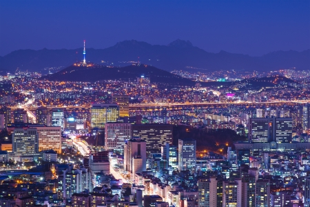 Seoul, South Korea city skyline nighttime skyline.