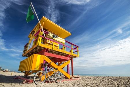 lifeguard tower: South Beach, Miami, Florida, USA lifeguard post.