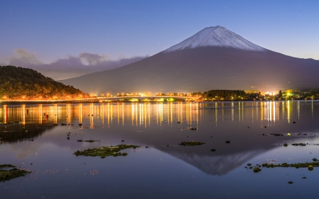 Mt. Fuji at dusk. photo