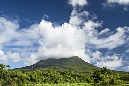 antilles: Nevis Peak, a volcano in the Caribbean. Stock Photo