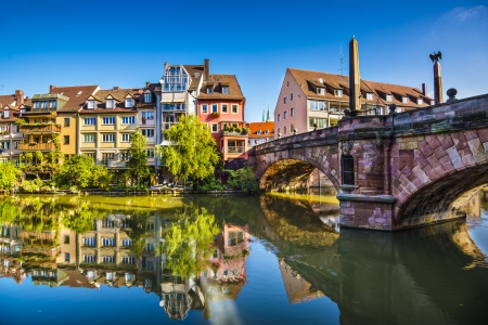 historic place: Nuremberg, Germany old town on the Pegnitz River.