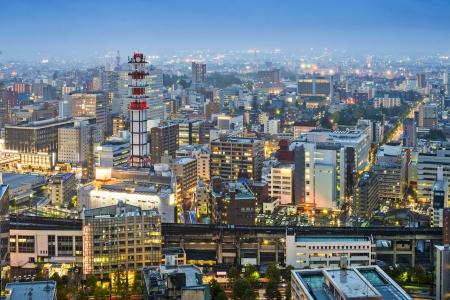 Sendai, Japan cityscape at twilight
