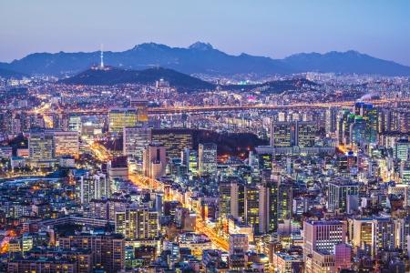 Seoul, South Korea city skyline nighttime skyline. photo