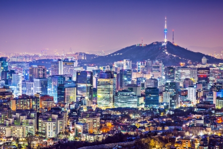 Seoul, South Korea city skyline nighttime skyline. Stok Fotoğraf - 25233984