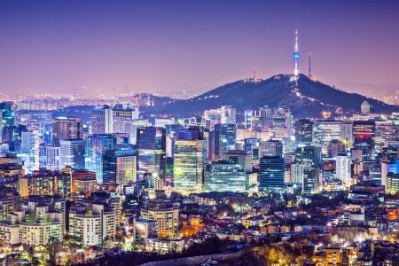 south korea: Seoul, South Korea city skyline nighttime skyline.