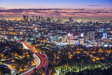 night views: Los Angeles, California, USA early morning downtown cityscape.
