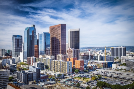rascacielos: Los Angeles, California, EE.UU. paisaje urbano de la ciudad. Foto de archivo