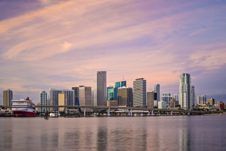 floridian: Miami, Florida, USA downtown skyline at dawn.