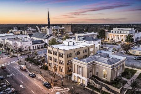 small town: Athens, Georgia, USA downtown cityscape.