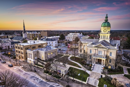 Athens, Georgia, USA binnenstad stadsgezicht. Stockfoto