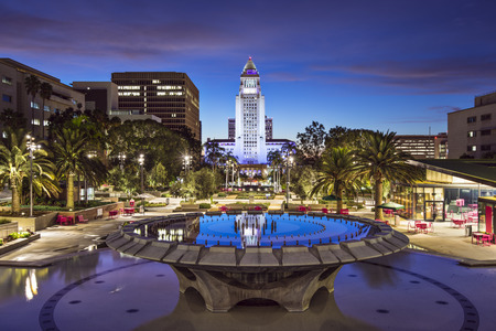 Los Angeles, California, USA downtown Cityscape at City Hall Stock Photo