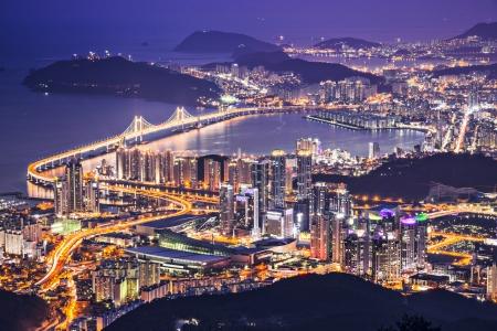 Busan, South Korea aerial view at night.