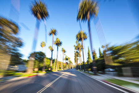 beverly hills: Beverly HIlls drive through with motion blur. Stock Photo