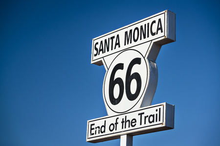 Route 66 End of Trail road sign in Los Angeles, California. photo